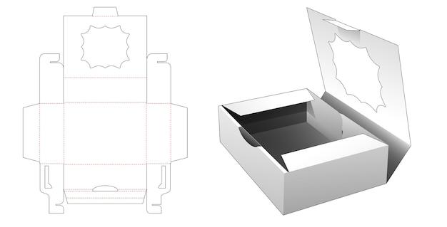 다점 별 창 다이 컷 템플릿이있는 케이크 용기 상자