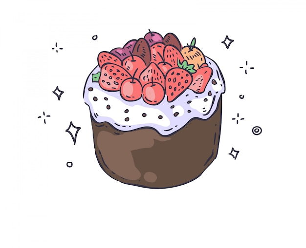 Торт каракули. иллюстрация торта