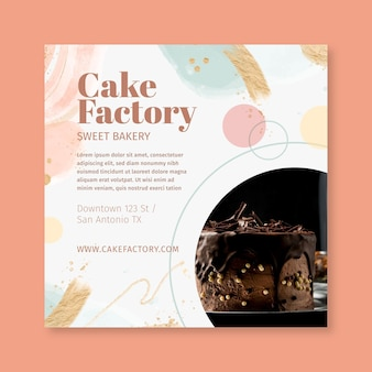 Modello di volantino di fabbrica di torte