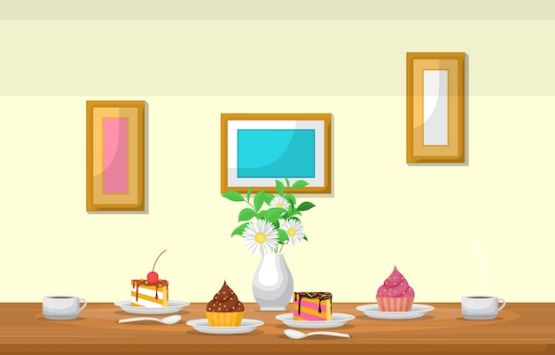 Cake flower cup of coffee on table cafe restaurant illustration