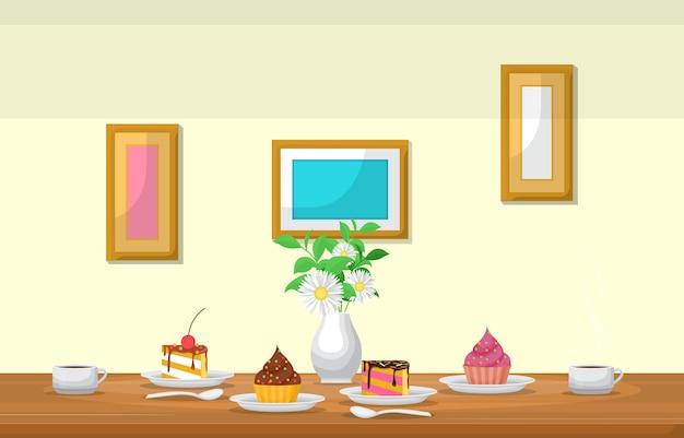 테이블 카페 레스토랑 그림에 커피의 케이크 꽃 컵
