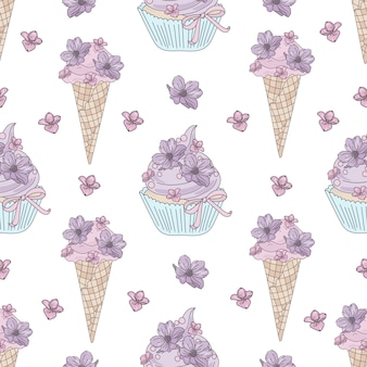 Cake flower wedding seamless pattern