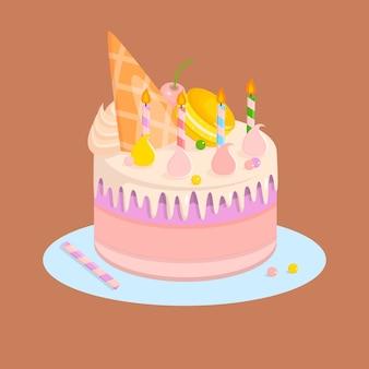 キャンドルとお菓子の誕生日パーティーのためのケーキ。