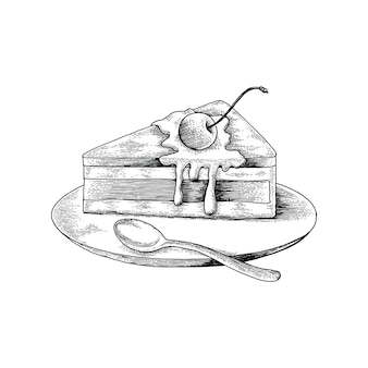 Cake hand drawing antique style on white background