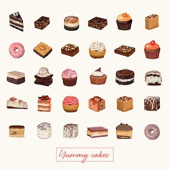 ケーキ手描きイラスト