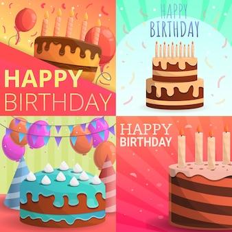 Cake happy birthday banner set, cartoon style