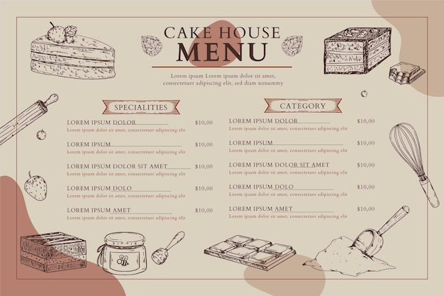 Cake house menu horizontal format