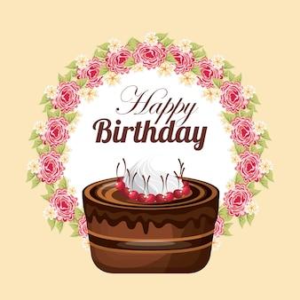 Cake icon. happy birthday design. vector graphic.