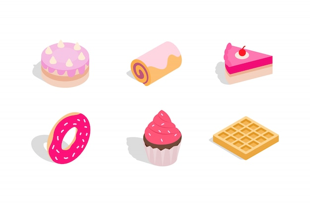 Cake icon set on white background