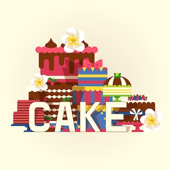 Cake  illustration. chocolate and fruity desserts, tasty cupcakes, cakes, pudding, biscuits, whipped cream, glaze and sprinkles.