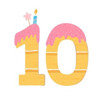 숫자 10 형태의 케이크. 달콤한 생일 케이크, 착빙과 크림을 뿌립니다. 생과자는 양초, 뿌리 및 별표로 장식되어 있습니다. 격리 된 이미지입니다. 벡터 일러스트 레이 션, 평면