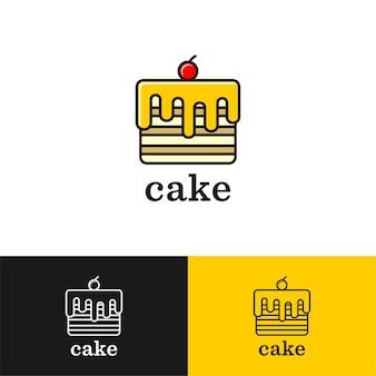 Cake line art logo design