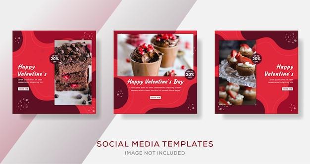 バレンタインデーのケーキメニュー、instagramの投稿テンプレート、正方形のサイズ