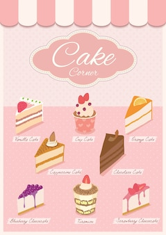 Cake menu on pink shop.