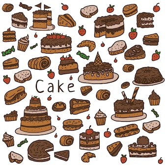 Cake pattern, hand drawn line with digital color, vector illustration