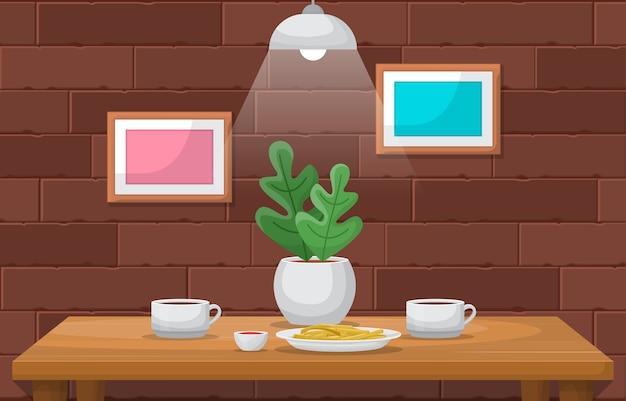 テーブルカフェレストランイラストにコーヒーのケーキ工場カップ