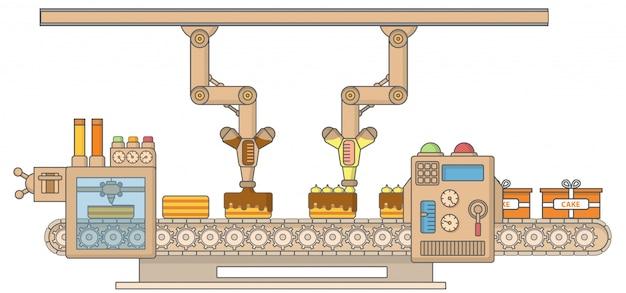 케이크 인쇄기 벡터 일러스트 레이 션. 로봇 케이크 꾸미기 및 포장기 얇은 선형 평면 스타일 디자인