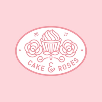 Cake and roses monocrest logo badge