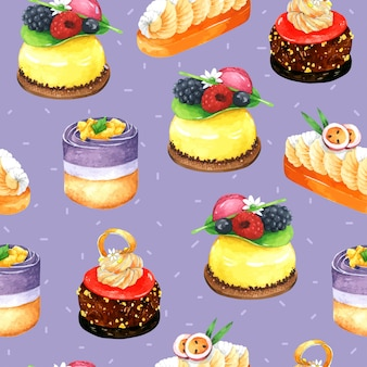 Cake seamless pattern in watercolor with violet background
