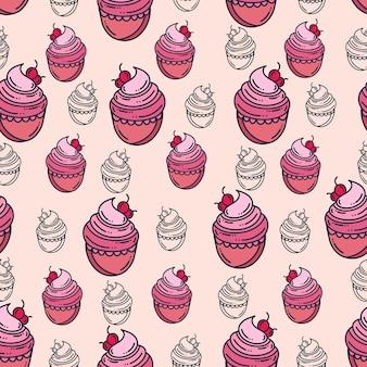 Cake seamless pattern