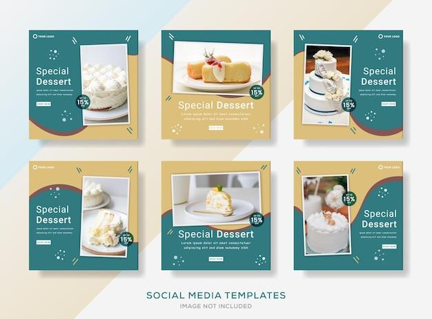 Cake shop banner template for social media post