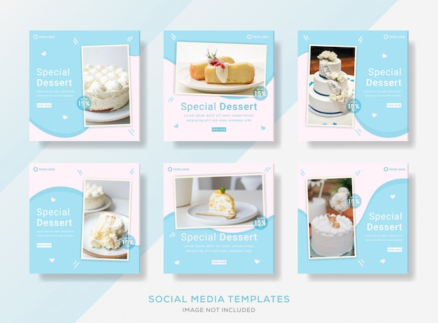 ソーシャルメディア投稿のケーキショップバナーテンプレート