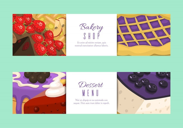Cake shop menu banners. chocolate and fruity desserts for cake shop with cupcakes,