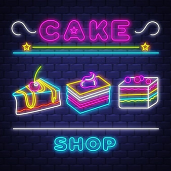 Cake shop - neon sign vector. cake shop - neon sign on brick wall background