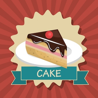 Cake slice dessert isolated