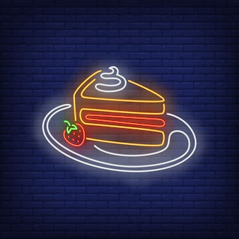 Cake slice neon sign.