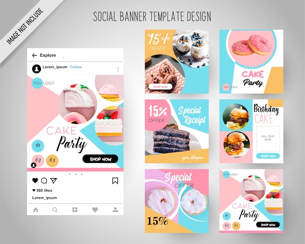 디지털 마케팅을위한 케이크 소셜 미디어 배너