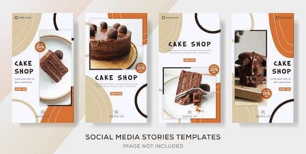 Cake sweets food banner collection stories template post.