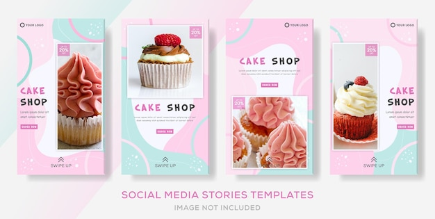 Cake sweets shop colorful banner collection stories post