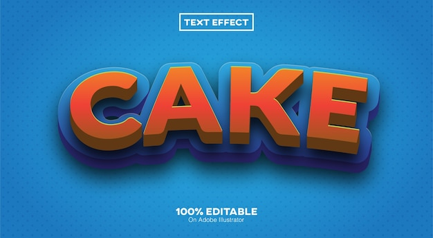 Cake text effect isolated on blue