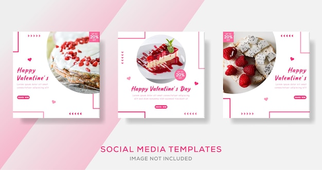 Cake valentines day banner template post premium