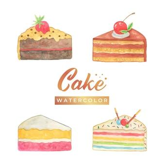 케이크 수채화 디자인 일러스트