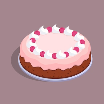 Cake with cherries and cream isometric vector illustration isolated from background