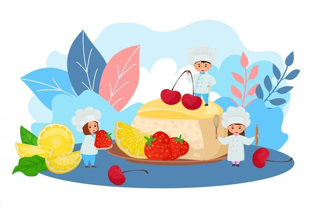 Торт с фруктами, шеф-повар еда иллюстрации. выпечка кондитерских изделий с ягодным декором фруктов, изготовление сладкого вкусного продукта.
