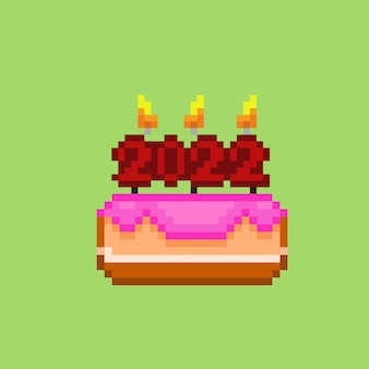 A cake with year candle in pixel art style