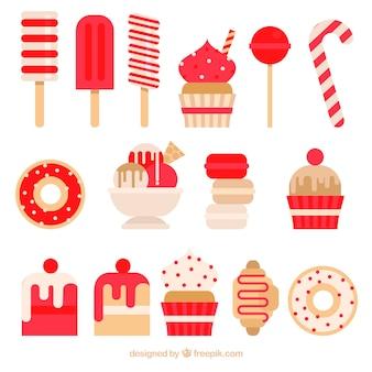 Коллекция тортов и сладостей в плоском стиле