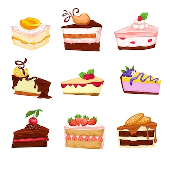 Cakes and berries with topping, isolated confectionery and assortment in bakery of cafe