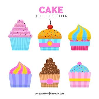 Коллекция тортов в плоском стиле