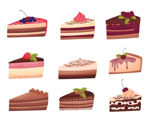 白い背景の上のケーキコレクション。ベーカリーのコンセプトです。