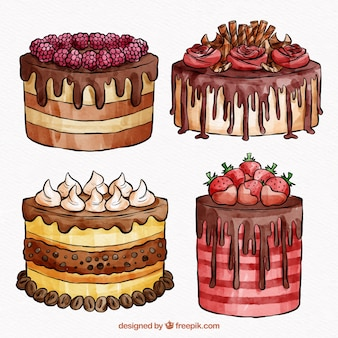 Cakes collection in watercolor style
