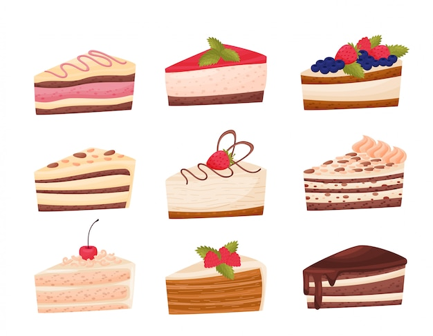 Cakes collection on white background. bakery concept.