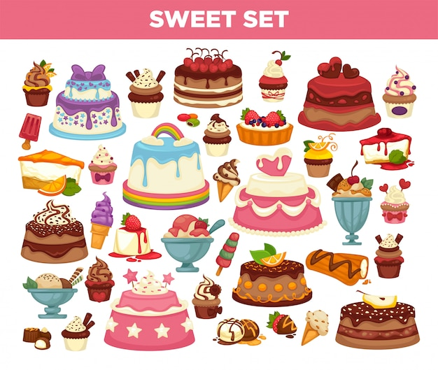 Cakes and cupcakes pastry desserts set