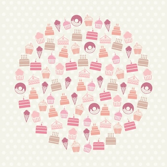Cakes icons over beige background vector illustration