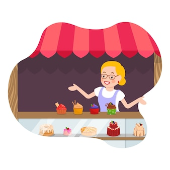 Cakes and muffins store flat vector illustration