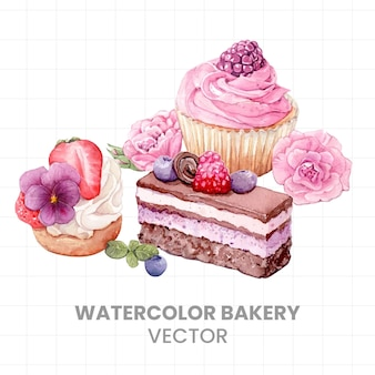 Cakes painted in watercolor on a white background