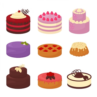 Cakes set icons in cartoon flat style. illustration collection of bright colorful cakes with chocolate and cream, pie and bun on white